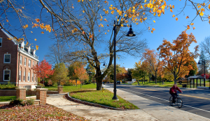 Downtown Durham and Campus in the fall