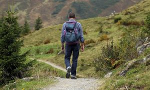 A man hiking through the nature