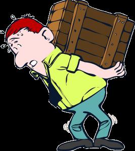 Cartoon of a man carrying a big wood case
