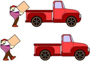Cartoon man loading a box onto a red truck