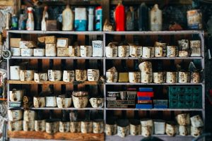 Garage shelves with lots of jars