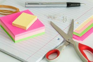 Labels, pencil and scissors