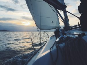 A boat making a turn. Rigging should be inspected for damage when you pack sailing equipment