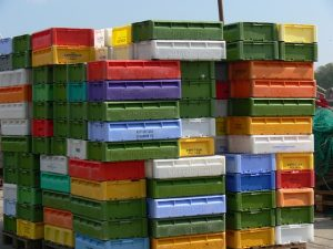Stack of plastic moving bins