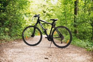 A bike on a trail in a forest