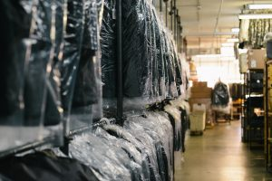 jackets wrapped in plastic wrapping