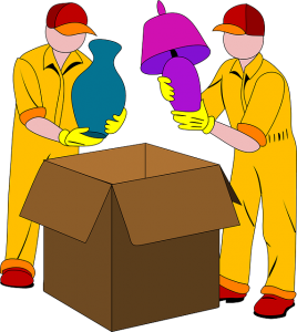 Illustrations of movers packing boxes