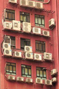 air conditions on a facade