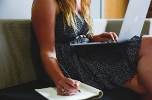 A woman making a moving plan
