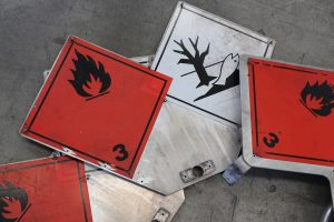 sign saying flammable as one of the items that are not not allowed in storage