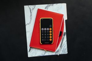 calculator on a notebook
