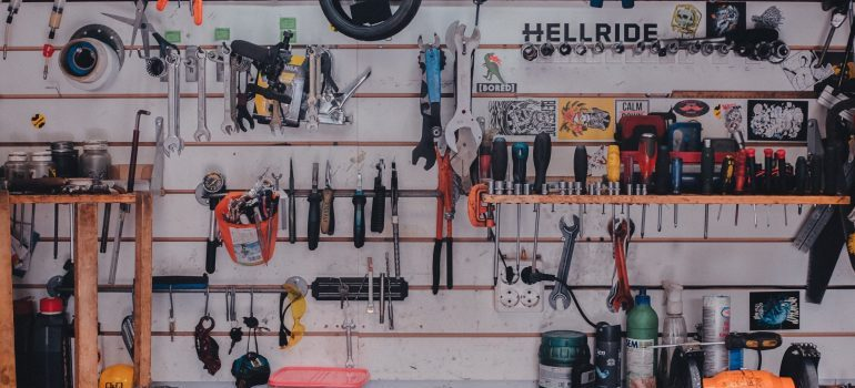 a garage outfitted with in-home storage solutions