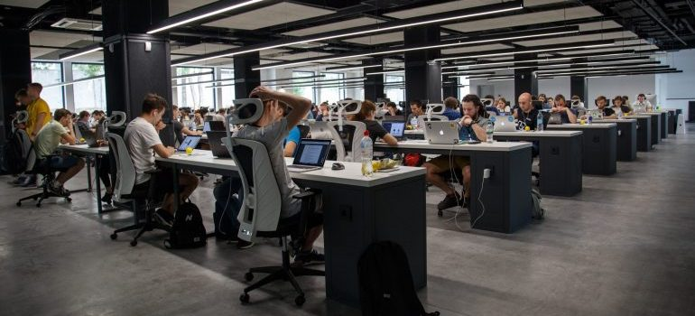 people working in an office building