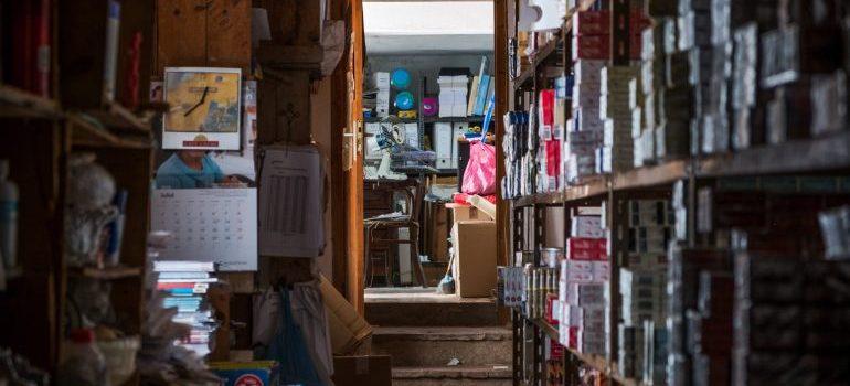 items on a storage shelf