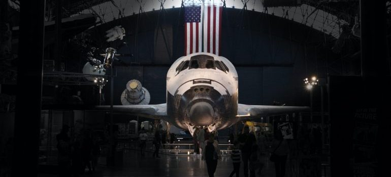 a space shuttle in a museum