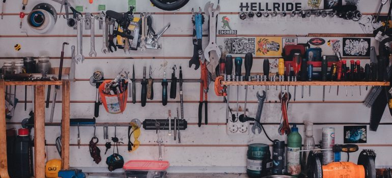 Tools hanging on a garage wall