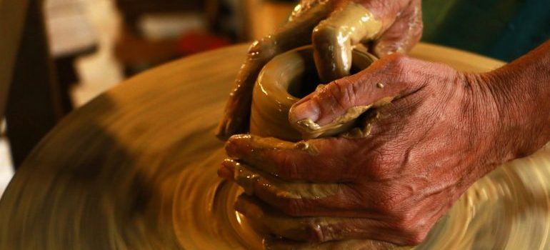 a person making pottery