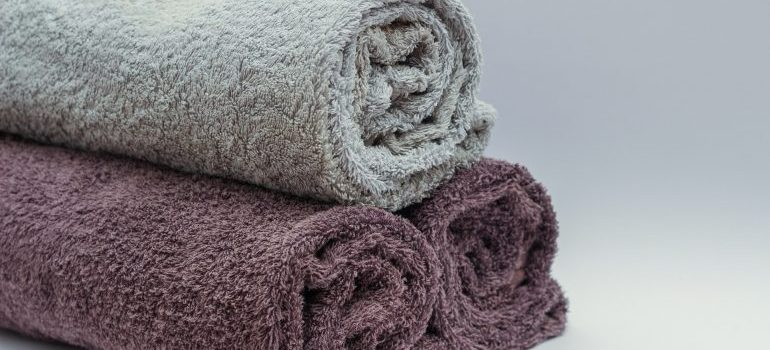Towels in different colors.