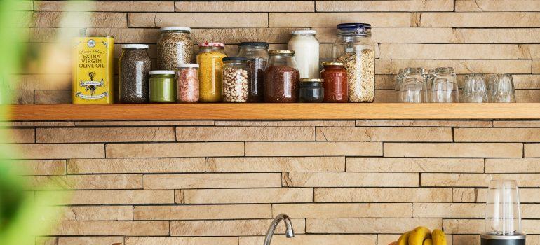 Jars full of food items on the shelf