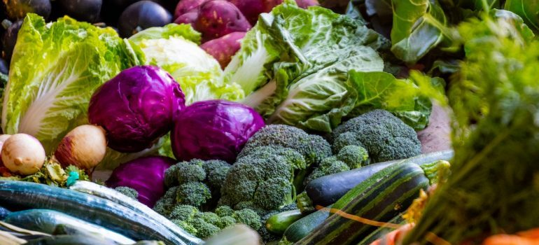 Green and purple vegetables