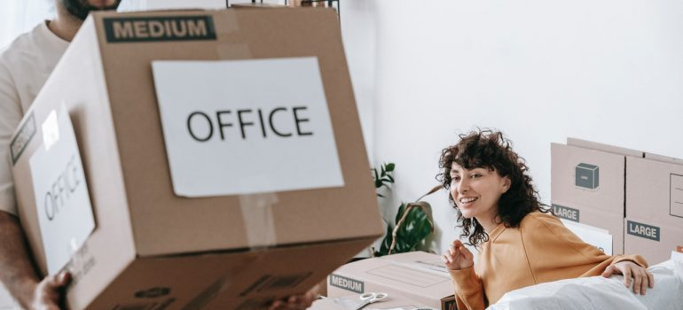 People relocating the office