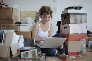 a girl dealing with clutter